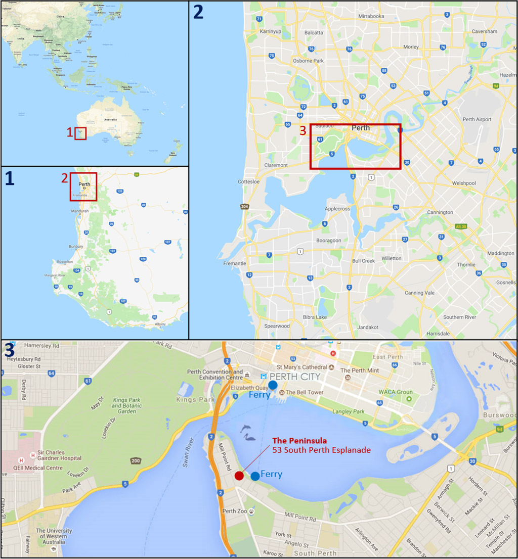 Perth hotel locations map